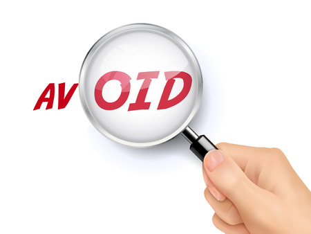 evade: avoid word showing through magnifying glass held by hand