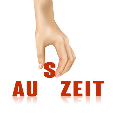 auszeit: auszeit word taken away by hand over white background