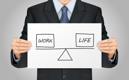 balance life: close-up look at businessman holding life and work balance concept Illustration