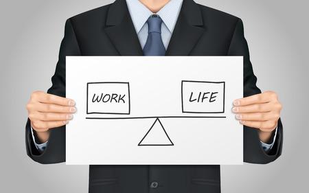 balanza: close-up mira empresario la celebración de concepto de la vida y el equilibrio trabajo