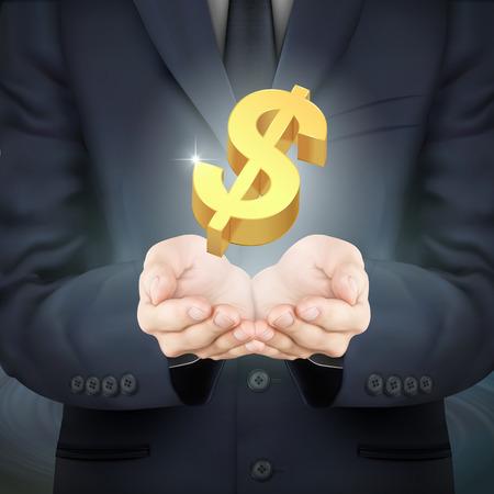 money symbol: close-up look at businessman holding money symbol