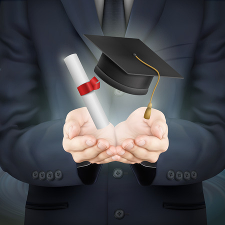 thesis: close-up look at businessman holding graduation caps and diploma Illustration