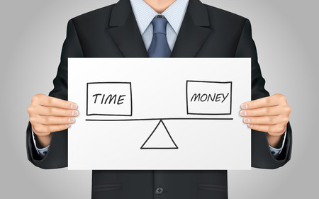 between: close-up look at businessman holding balance between time and money concept