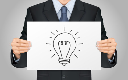 lighting bulb: close-up look at businessman holding lighting bulb poster