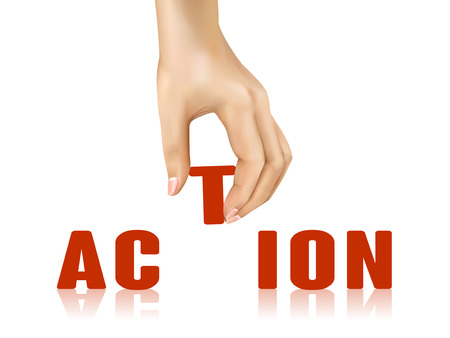 take action: action word taken away by hand over white background