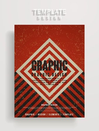 playbill: retro poster template design with rhombus and stripe elements Illustration