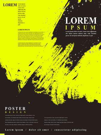 attractive poster template design with Chinese calligraphy brush strokes elements Ilustração