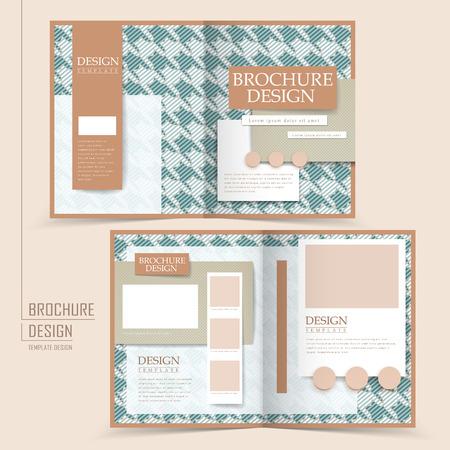 office romance: elegant half-fold template design with houndstooth pattern Illustration