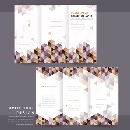 flyer background: trendy tri-fold template design with triangle elements Illustration