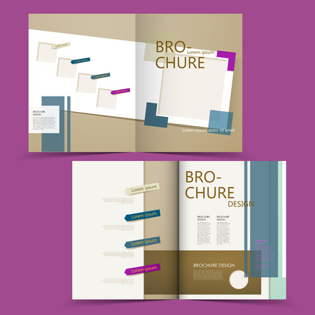 brochure background: creative geometric half-fold brochure design isolated on purple background