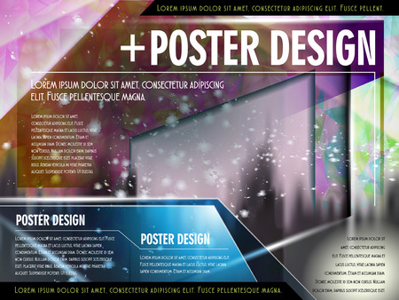 playbill: colorful poster template design with translucent geometric background Illustration