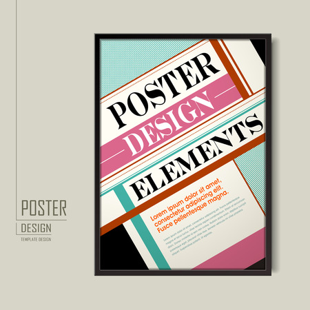 poster design: modern poster template design with colorful geometric elements