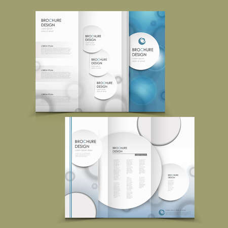circular: abstract tri-fold brochure design with circular element in blue and white Illustration