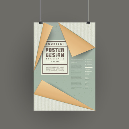 poster design: elegant paper folded style poster design isolated on grey Illustration