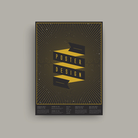 playbill: trendy geometric element poster design hanging over grey wall