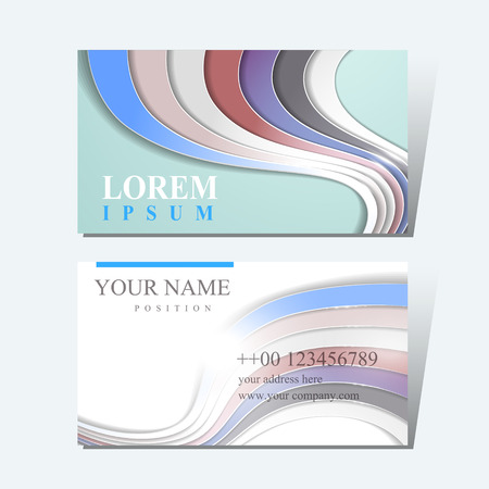 business card design: elegant business card design template with glossy wave elements Illustration