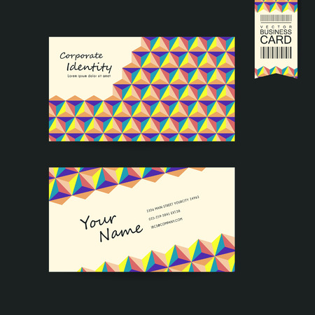 business symbol: lovely business card design template with colorful triangle elements Illustration