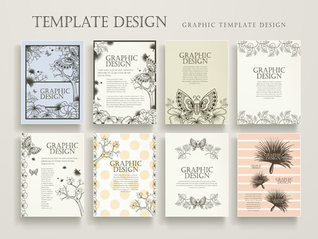 elegant poster template design with exquisite floral and butterflies elements