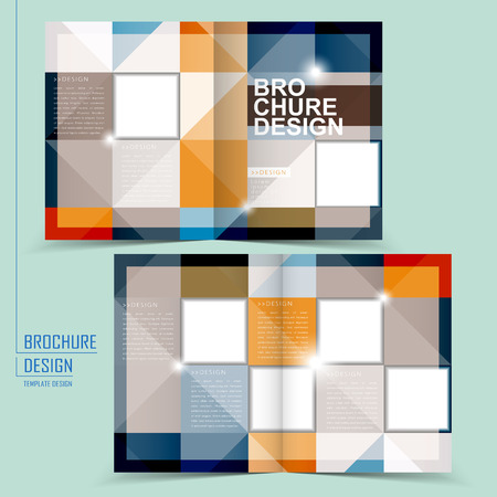 square background: modern half-fold template design with colorful squares elements