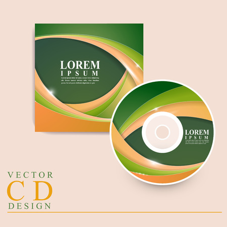 rom: modern CD cover template design with glossy wave elements