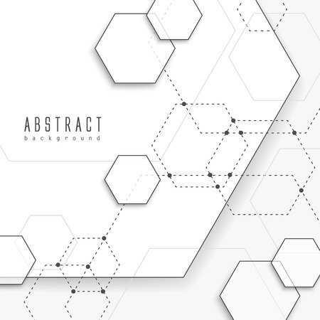 concise: simplicity hexagon element background design in white Illustration
