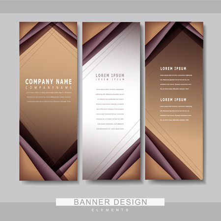 BANNER DESIGN: modern banner template set design with brown line elements