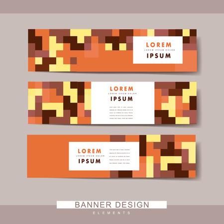 claret red: dise�o de conjunto de plantillas de banner moderno con elementos de bloques de colores Vectores