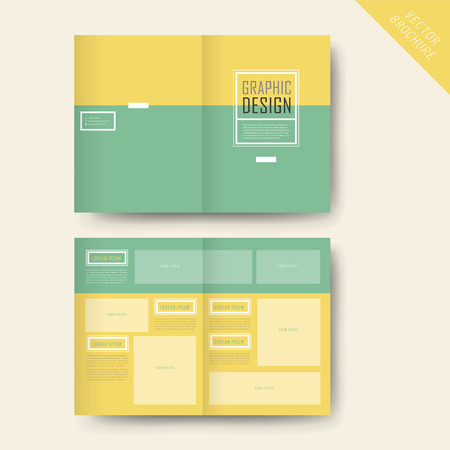 simplicity: simplicity half-fold template design in yellow and turquoise Illustration
