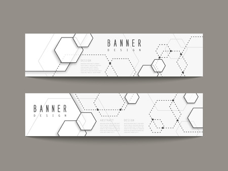 simplicity: simplicity hexagon element banners set isolated on grey