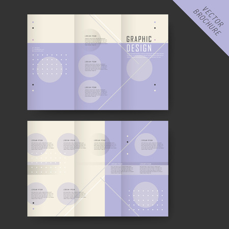 the simplicity: simplicity tri-fold template design with geometric elements in purple and beige
