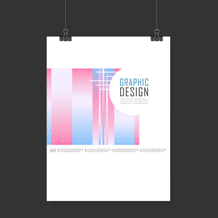 playbill: elegant poster template design with geometric elements in pink and blue