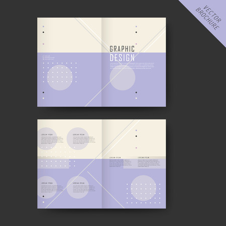 the simplicity: simplicity half-fold template design with geometric elements in purple and beige