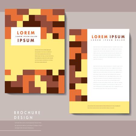 claret red: Dise�o del modelo del folleto moderno con elementos de bloques de colores Vectores