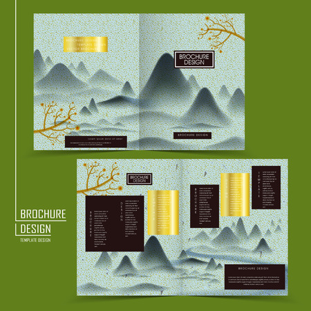 poetic: Chinese brush painting style half-fold template design with classic landscape