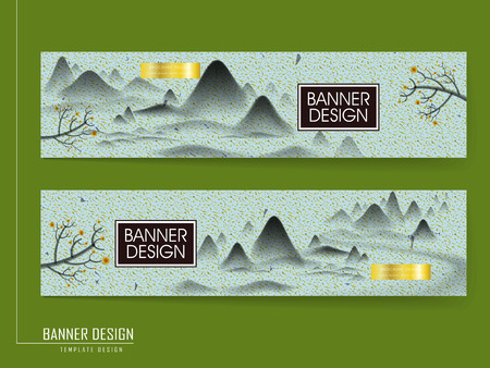 chinese brush: Chinese brush painting style banner template design with classic landscape