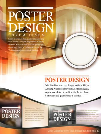 playbill: modern poster template design with glitter translucent blurred background Illustration