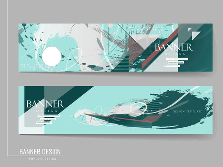 elegant banner template design with abstract geometric and brush strokes elements Illustration