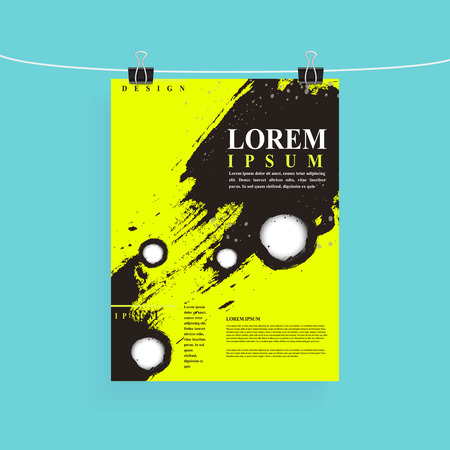 playbill: attractive poster template design with Chinese calligraphy brush strokes elements Illustration