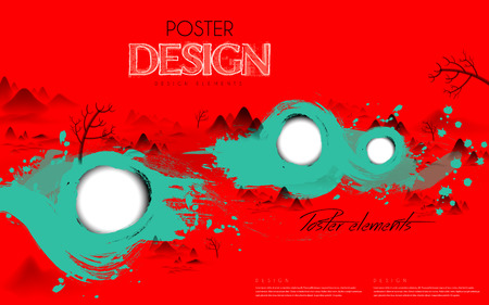 stroke: attractive poster template design with Chinese calligraphy strokes elements