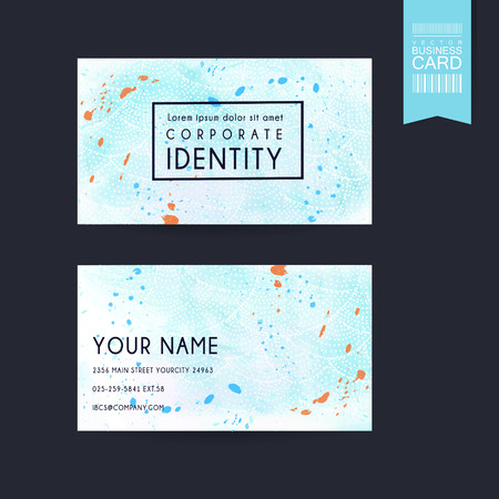 contact information: fantastic business card design template with color strokes elements