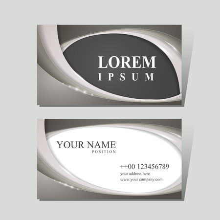 modern business card design template with glossy wave elements