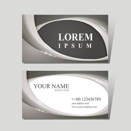Modern visitekaartje ontwerpsjabloon met glanzende golfelementen Stockfoto - 41859718
