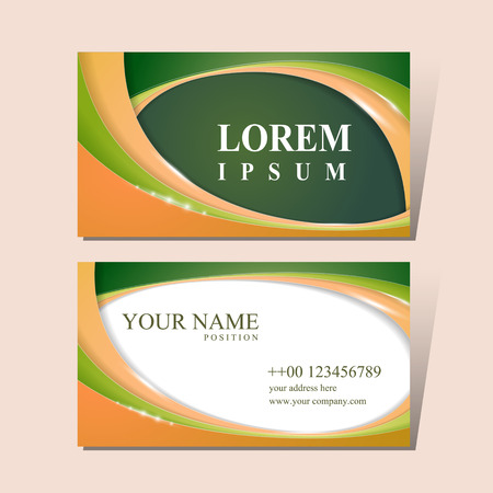 business card design: modern business card design template with glossy wave elements