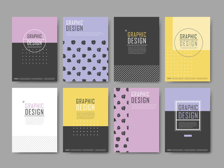 elegant poster template design set with geometric elements