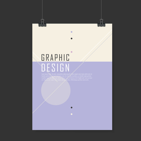 poster design: simplicity poster template design with geometric elements in purple and beige