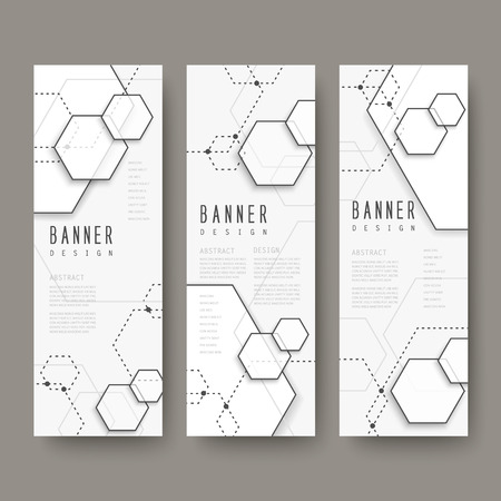 concise: simplicity hexagon element banners set isolated on grey