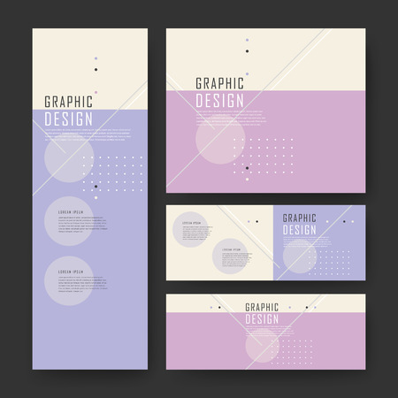 purple abstract background: simplicity banner template design with geometric elements in purple and pink Illustration