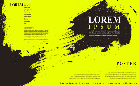 attractive poster template design with Chinese calligraphy brush strokes elements Illustration