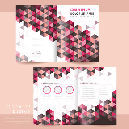 claret red: trendy half-fold template design with triangle elements Illustration