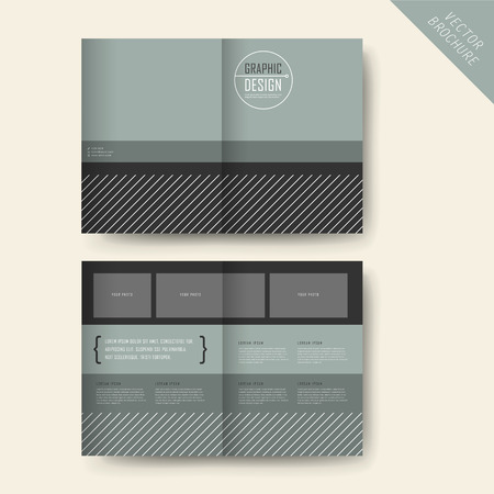 contemporary half-fold template design with grey geometric elements 版權商用圖片 - 41859791